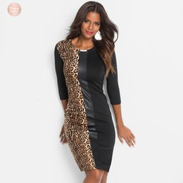 vestidos de quimono de comprimento completo Desconto Vestir New Womens Fashion Casual Estilo da luva Patchwork joelho Full Length O Neck Leopard Bainha 18025 Drop Shipping