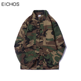 chinese hip hop fashion Promo Codes - EICHOS Mens Camouflage Jackets Autumn Chinese Tang Style Casual Streetwear Jacket Men Fashion Hip Hop Multi Pocket Camo Coat