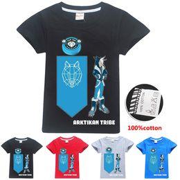 chemise imprimée au loup Promotion Arktikan Tribe Snow Wolf Imprimé Enfants T-shirts 4 Couleurs 6-14t Garçons 100% Bande Dessinée T-shirt Enfants Designer Vêtements Garçons SS290