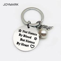 ragazza non sorelle di sangue ma sorelle di cuore Stainless Steel Heart Family Friend Gifts Sister portachiavi per da donna