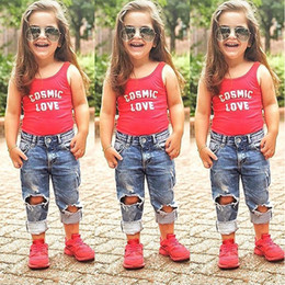 Jeans pant playeras chicas online-Toddler Kids Baby Girls T-shirt Tops + Jeans Pantalones Trajes de verano Ropa 2PCS Set