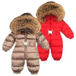 casaco de neve menino Desconto Inverno Russo bebê recém-nascido Hoodie Big Fur meninos colar morno Casacos Macacão de Bebé Roupa Parka neve desgaste meninas Coats Jacket