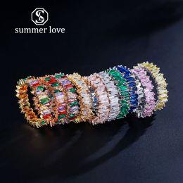 pile di anelli Sconti 2019 New Rainbow Baguette CZ Eternity Trendy Fidanzamento Fedi nuziali Anelli per donne Irregolare Rame intarsiato Anelli di zircone Regalo gioielli
