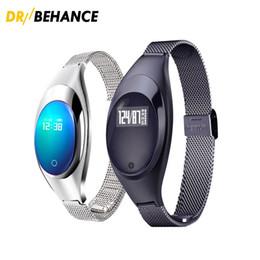 Z18 android online-Reloj de lujo Z18 Bluetooth Smart Band Presión Arterial Monitor de Ritmo Cardíaco Pulsera Autorretrato Muñequera remota para dispositivos Android IOS