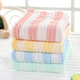orgânicos toalhas de bebê Desconto Super Macio 6 Camadas de Algodão Orgânico Gaze Cobertor Do Bebê com Listras de cor Bolha Dobras Swaddle 105 * 105 cm Cobertura de Toalha de Bebê Colcha