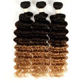 Cheveux profonds non tissés brésiliens de vague de cheveux tisse 3/4 faisceaux Extensions de cheveux d'ombre de boucles brésiliennes profondes 3 tons ton armure de cheveux ? partir de fabricateur