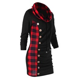 b8b0b456c58 Cowl Neck Tunic Plaid Trim Casual Button Sweatshirt Dress Autumn Long  Sleeve Sheath Bodycon Dress long T-shirts DRESSES Hoodie Plus Size hot  affordable ...