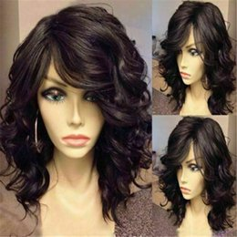 Lockiges haar seite knallt online-Hohe QualiFluffy Schwarz Curly Capless Stunning Medium Side Bang synthetische Perücke Haar
