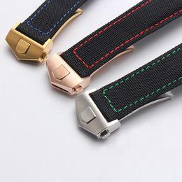 Rotem ledergewebe online-Nylon carvas Stoff Armband Lederarmband für Tag huere Uhr 20mm 22mm Man Kalbslederband Schwarz Orange, Rot, Gelb mit Werkzeug