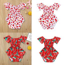 2019 sandía ropa roja Traje de baño con estampado floral de bebé Sandía de verano Impreso Lindo Traje de baño de una pieza de playa Traje para niños de 3 a 24 meses Casual Kids Cloth Red rebajas sandía ropa roja