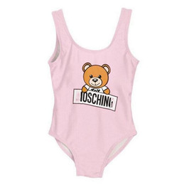 Ropa de gama alta online-Mejor venta de gama alta de una sola pieza de bebés monos trajes de baño impresión carta traje de baño niños ropa de playa 2T-8T