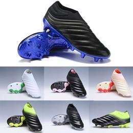 nuevo diseño de zapatos de futbol Rebajas 2019 Nueva Copa 19+ FG para hombre Zapatillas sin cordones de fútbol Champagne Solar Negro Rojo Utilidad Antideslizante Diseño de olas Zapatos de fútbol Tamaño 38-45