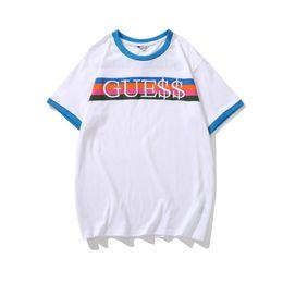 Usa kleidung online-USA Herren Sommer Regenbogen Stickerei T-Shirts Rundhalsausschnitt Kurzarm Lose Homme Tees Mode Paar Kleidung