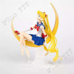 seemann mondpuppen Rabatt Anime Sailor Moon Tsukino Usagi PVC Actionfigur Flügel Kuchen Dekoration Sammlung Modell Spielzeug Puppe Mädchen Geschenke