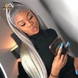 2020 parrucche lunghe spesso Brasiliana grigia parrucche lunghe diritta 150 densità dei capelli umani parrucche piene del merletto con capelli del bambino spessore Glueless parrucche per le donne parrucche lunghe spesso economici