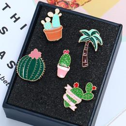 2019 spille smaltate New Colorful smalto Pins Set distintivo per vestiti Colorful Cartoon spille piante grasse Cactus Jacket Bag Badge fai da te spille smaltate economici
