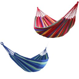 oscillazioni blu Sconti Giardino portatile di tela amaca tela letto campeggio appeso portico cortile altalena coperta coperta blu all'aperto strumenti tenda da campeggio