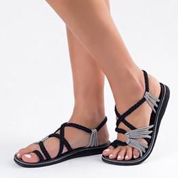2019 sandalias de talla grande Las últimas sandalias de gladiador para mujer Sandalias romanas de verano Zapatillas de playa atadas cruzadas Para niñas Flap Flops con tallas grandes Envío gratis sandalias de talla grande baratos