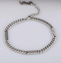 Cadena de plata s925 online-Diseñador YS Pulsera de cadena S925 plata esterlina Nuevo regalo de moda pulsera de las mujeres Joyería con palabras colgante Estilo hip hop Perfecto Punk L regalo