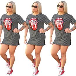 Maglietta delle labbra del sequin online-Abito da donna con paillettes labbra rosse Abito a maniche corte T-shirt estiva T-shirt estiva Moda Mini abito casual Abiti da discoteca per feste