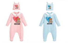 2019 animal raposa cinza 2020 New Baby Meninos Meninas dos desenhos animados urso macacãozinho T-shirt infantil Macacão com chapéus criança algodão Onesies recém-nascido de uma peça só
