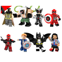 grande super herói Desconto Marvel Batman Blocos de Construção Super Heróis Tijolos Puzzles Figura Vingadores Big Bain Leopard Deadpool Miss EUA Wolverine X-Man Capitão América