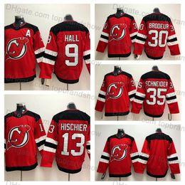 63624b8da New Jersey Devils Jerseys 30 Martin Brodeur Jersey 35 Cory Schneider 13  Nico Hischier 9 Taylor Hall Stitched ICE Hockey Jerseys Red White