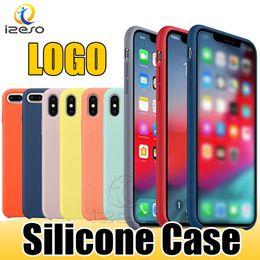 Logo de silicona iphone online-Funda de silicona líquida de alta calidad para iPhone Xs Max Xr X 8 7 6 Plus Tiene fundas de teléfono LOGO a prueba de golpes con caja al por menor