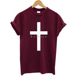 2019 христианская печать Believe Faith Print Cross Women Tshirt Short Sleeve Loose Fit Summer Tops Streetwear Christian T Shirt Women 2019 Clothing  скидка христианская печать