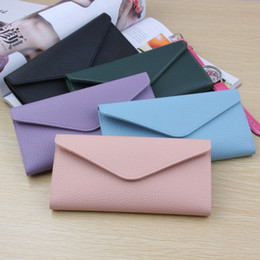 koreanische umschlagmappe Rabatt Neue koreanische Version des Thin Wallet Buckle 3-fach Einfache PU Wallet Lychee Muster Umschlag Wallet Tide Long Female NQ-093