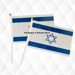 israel flags Coupons - Israel Flag Hand Held Stick Cloth Flags Safety Ball Top Hand National Flags 14*21CM 10pcs a lot