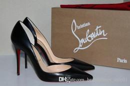 Zapatos mate online-Zapatos de vestir de mujer de marca Bombas Zapatos de tacón alto de fondo rojo Bombas Zapatos de tacón de aguja Líneas de piel de oveja mate negro Zapatos de boda 8cm 10cm 12cm + Caja