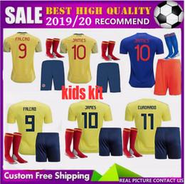 39ab115d7 19 20 kids Colombia Home Away JAMES Soccer Jerseys kits copa america 2019  FALCAO CUADRADO AGUILAR GUARIN C.SANCHEZ football shirt Free Ship