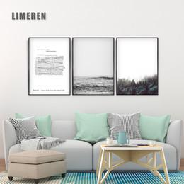 Pintando folha negra on-line-mar Partituras Forest Mountain Black and White Grey Nordic Paisagem Simples Decoração Pintura Poster Wall Art Canvas