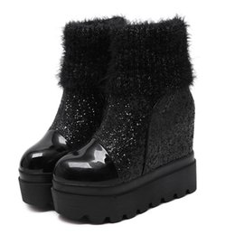 558a3fc092ee short wedges heels Coupons - 2018 winter new fashion warm middle tube  Sequin wedge women s boots