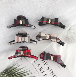 clipes de banana para cabelos Desconto 2020 moda acessórios para o cabelo grande clássico xadrez banana clip clipe de garra clipe de gravata borboleta rabo de cavalo clipe de banana