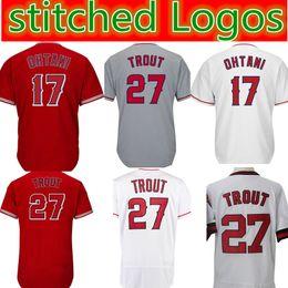 431059bfe Chinese 27 Mike Trout 17 Shohei Ohtani Jersey Mens stitched Baseball Jerseys  Cheap wholesale White Red