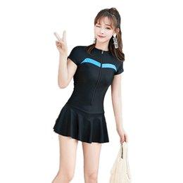 Einteiler badeanzug shorts online-M-4XL Sexy Rock Bottom Badeanzug Frauen 2019 Reißverschluss Badebekleidung Kurzarm Badeanzüge Größe Badeanzug Beachwear