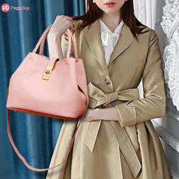 2019 diviso grande sacchetto Split Luxury Leather Handbags donne del progettista Borse Sac à dos Borse Solid Colprs Totes borsa delle signore elegante Big Capacity Bolsa diviso grande sacchetto economici