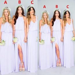 Vestido de noiva lilás de praia on-line-Lilás Longo Da Dama De Honra Vestidos Ruffles Bohemian Até O Chão Verão Praia Festa de Casamento Vestidos de Noite Das Damas De Honra Vestido