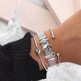 Manschettenknopf armband online-Mavis Hare Silver Mesh Strap Armband mit LockKeyCrystal Slide Charms und Crystal Cuff Bangle und Knot Bracelet als Geschenk