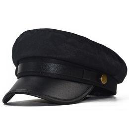 cappelli invernali per gli uomini Sconti Cappellino Cappello invernale femminile per donna Uomo Donna Army Militar Cappello Pu Visiera in pelle Black Cap Sailor Bone Maschio