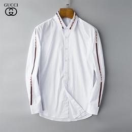 camisa preta gravata branca Desconto 2018 high-end novo camisa de mangas compridas homens lapela M-3XL0200