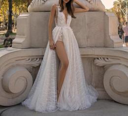 2019 barato sexy noite vestidos Moda New Sexy Vestido de Noite Branco Profundo Decote Em V Sem Mangas Backless Flor Do Laço Praia Prom Vestido Formal Vestido De Fiesta