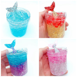 crystal mud free Coupons - latest design mermaid crystal mud Festival Novelty children adult toy fish tail reduce pressure DHL free shipping