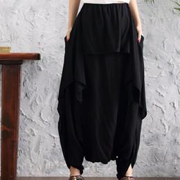 cb6c1e9452 Clobee Cotton Linen Harem Trousers Elastic Waist Wide Leg Pants Vintage  Stretch Loose Women Summer Casual Pantlone Femme X64 discount black linen  trousers ...