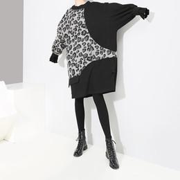 2019 более толстое платье 2019 осень и зима новый большой размер женское платье рыхлый тонкий шить леопарда толстый свитер юбка дешево более толстое платье