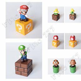Super mario cogumelo figura on-line-5 Estilo Super Mario Boneca de Brinquedo Super Mario Cogumelo Modelo Combinação Personagem Modelo Livre PVC Figuras de Ação
