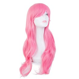 wholesale wigs hairpieces Promo Codes - Pink Wig Fei-Show Synthetic Heat Resistant Long Wavy Inclined Bangs Hair Cartoon Costume Halloween Carnival Cos-play Hairpieces