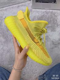 Ouro translúcido on-line-(Com Caixa) Alta Qualidade Homens Mulheres Kanye Ouro Amarelo Tênis Com Listra Translúcida Ocidente Sneaker